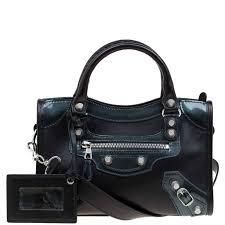 balenciaga black leather and patent mini city silver hardware bag nextprev prevnext