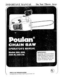 Poulan Spark Plug Chart Poulan 1800 User Manual 10 Chain Saw Manuals And Guides L0801151