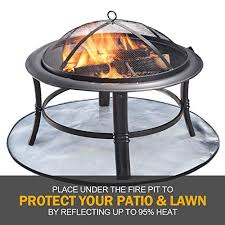 Roloway Fire Pit Mat For Deck 32 Inch Patio Fire Pit Pad Fireproof Mat Deck Protector For Wood Burning Fire Pit Bbq Smoker 3 Layers Fire Resistant Round Grill Mat For Lawn