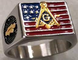masonic us flag ring stainless steel
