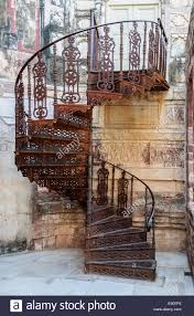 Old wrought iron spiral staircase of Mehrangarh Fort, Rajasthan, Jodhpur,  India