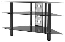 ryan rove ruby 44 corner glass tv stand black with cable management contemporary entertainment centers and tv stands by mach group