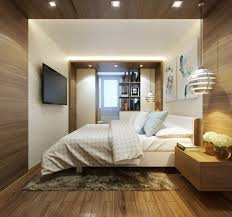 Bedroom, Ceiling Lamps Wood Paneled Bedroom White Blanket Pillows Grey Shag  Rug Wooden Floating Drawer Flower Vase Lcd Television Bookcase Books  Laminate ...