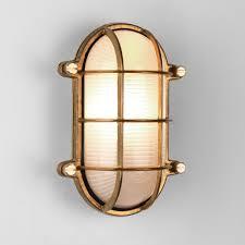 thurso oval coastal ip44 exterior brass wall light