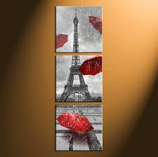 home decor 3 piece wall art umbrella panel art eiffel tower art  on wall art black white and red with 3 piece eiffel tower black and white huge pictures