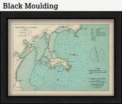 Nahant And Lynn Massachusetts 1909 Nautical Chart By Geo Eldridge Colored Version