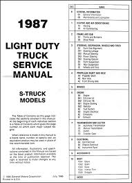 1987 chevrolet s10 pickup and blazer repair shop manual original S10 Fuse Panel Wiring Diagram this manual covers 1987 chevy s 10 blazers and s 10 pickup trucks see my other items for the manual for the large blazer this book measures 8 5\