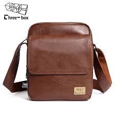 three box brand vintage leather messenger bag for men business men cross bag men s shoulder bags front pocket male handbag