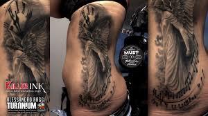 Tatuaggio Sul Fianco Angelo In Black And White Alessandro Raggi