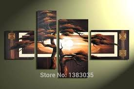 hand painted 4 piece pine tree canvas art sunset landscape oil 4 piece canvas wall art on 4 piece canvas wall art with 4 piece wall art set hybriddog fo