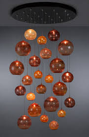 contemporary chandelier blown glass led custom