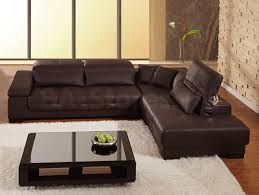 sweet l shaped sectional brown leather couch feat black gloss coffee table on white fur rug home black gloss rectangle home office
