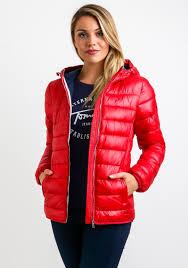 tommy hilfiger womens quilted jacket red