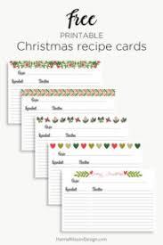 Printable Christmas Recipe Cards Holiday Recipe Cards Christmas Printable Hanna Nilsson Design