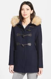 wool blend twill duffle coat with genuine coyote fur trim 4