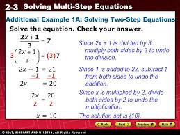 6 2 3 solving multi step equations additional example 1a solving two step equations solve the equation check your answer