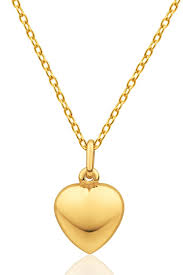 sevil 14k gold puffed heart pendant necklace