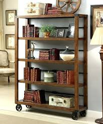 Dark Wood Bookcase With Glass Doors Broadus Iii Collections Rustic Country  Style Dark Oak Finish Wood 5 Tier Shelf With Metal Caster Dark Wood  Bookshelves ...