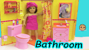 american doll room shower brush teeth surprise blind bags toy video