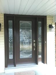 entry door replacements pro via entry door with sidelights brown finish with stained glass zinc entry
