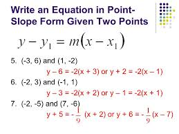 write an equation in point slope form given two points