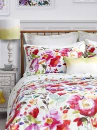 super bold red fuchsia and yellow watercolor bedding set