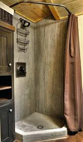 corrugated metal bathroom masculine and wood shower surround in sheet walls masculi