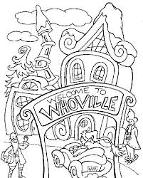 Dr Seuss Grinch Coloring Pages In Christmas Title Design Kids