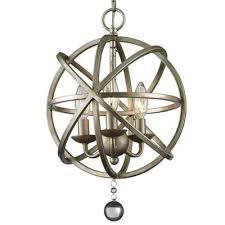 industrial foyer led orb chandelier pendant with crystal accents in antique pewter 3 light