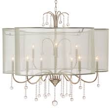 denise hollywood regency champagne silver crystal 9 light chandelier transitional chandeliers by kathy kuo home