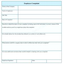 Grievance Form Template Employee Complaint Sample Forms Employees ...