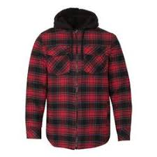 Insulated Flannel Jacket With Hood & Burnside Quilted Flannel Full-Zip Hooded Jacket-RedSize -S Adamdwight.com