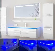 120 Weiss Hochglanz 120 Badmöbel Set Bad Möbel Komplett Set Incl Led System Fertig Montiert Lackiert 6 Teilig Badezimmer Hochschrank Badezimmerschrank