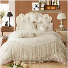 beige pink red purple ruffle lace wedding jacquard satin bedding set princess duvet cover set full queen king size duvet cover sizes veratex bedding from