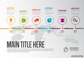 Horizontal Timeline Layout With Abstract World Map Buy This Stock