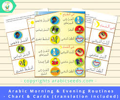 Arabic Chart Arabic Morning Evening Routines Poster Cards Translation Included