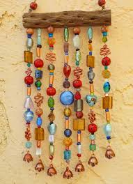 Beaded Wind Chime Suncatcher on Cholla Wood with by LTreatDesigns