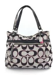 Coach Poppy Large Metallic Tote in Grey