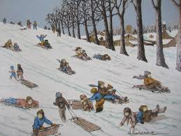 425 d69 6 h hargrove painting of children sledding on liveauctioneers