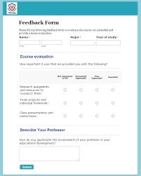 Lecture Evaluation Form Simple Free Course Evaluation Form Template 48FormBuilder