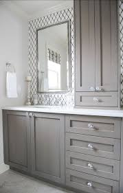 gray bathroom vanity. Give Your Bathroom A Budget-Freindly Makeover *storage In The Middle Going Up Gray Vanity