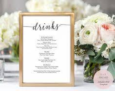 wedding drink menu. Wedding drink menu template Bar signs for wedding Editable menu