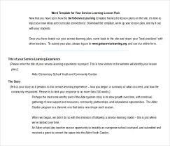 Microsoft Lesson Plans Service Learning Lesson Plan Template 11 Microsoft Word Lesson Plan