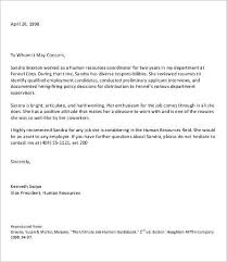 letter of remendation for employment