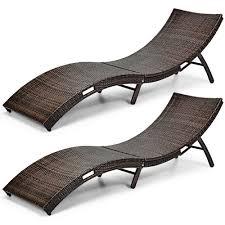 gymax 2pcs patio folding rattan lounge