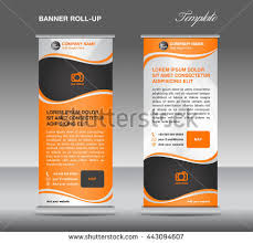 template for advertisement orange roll banner template info graphics stock vector 399449848