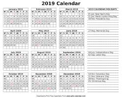 Calendar 2019 Printable With Holidays Printable Blank 2019 Calendar Templates