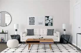 black and white minimal living room design mid century modern and industrial living room style spotlight mod visionary modsy