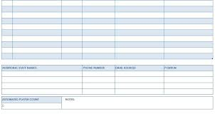 Roster Sheet Template Football Roster Template Youth Football Roster Template