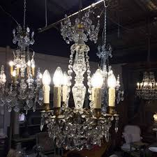 19th century french crystal chandelier with 6 candle lights